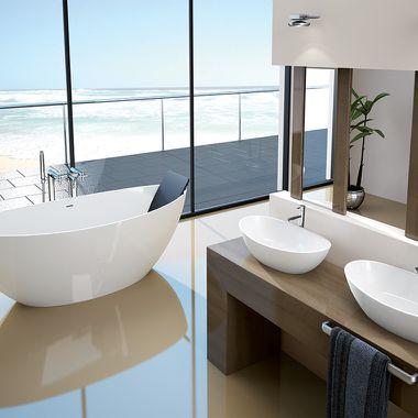 Badezimmer mit Doppelwaschbecken