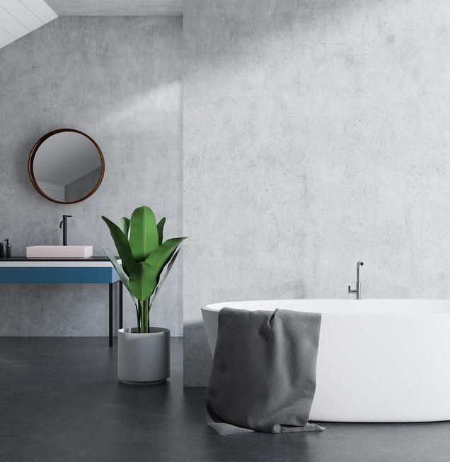 Freistehende Badewanne in elegantem Grau
