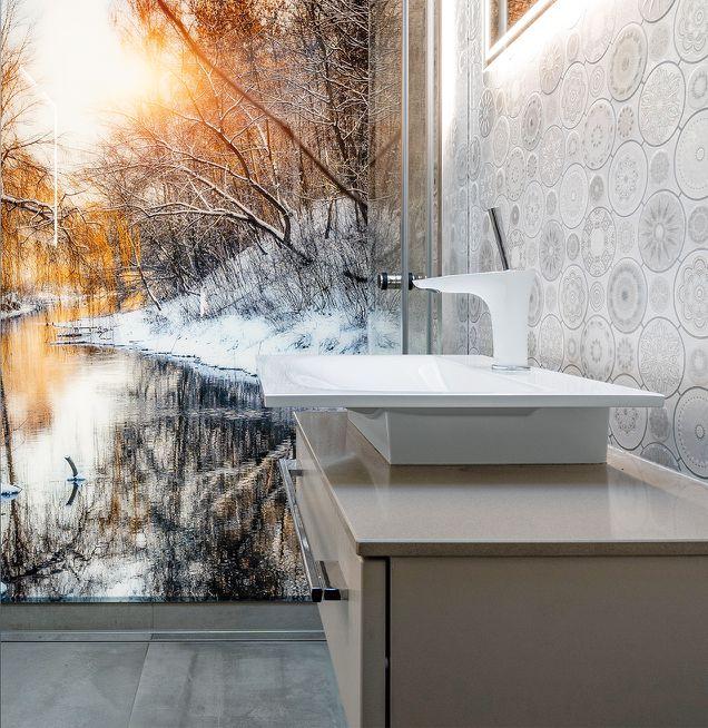 Badezimmer mit außergewöhnlichem Design der Badmöbel