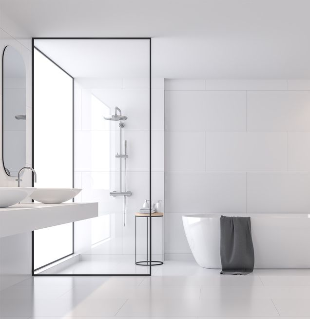 Badezimmer mit außergewöhnlichem Farbkonzept