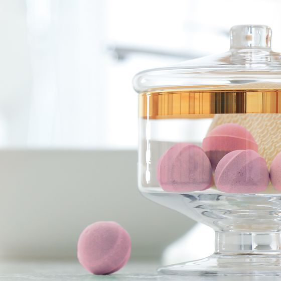 Badezimmer Accessoire Badekugeln in Glasdose