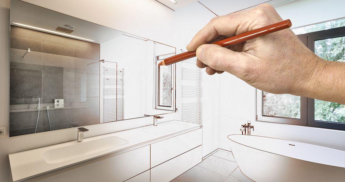 Skizzierung Badezimmerdesign von Die Badgestalter