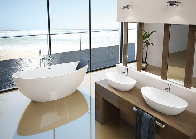 Freistehende ovale Badewanne und Aufsatzwaschbecken aus Mineralguss