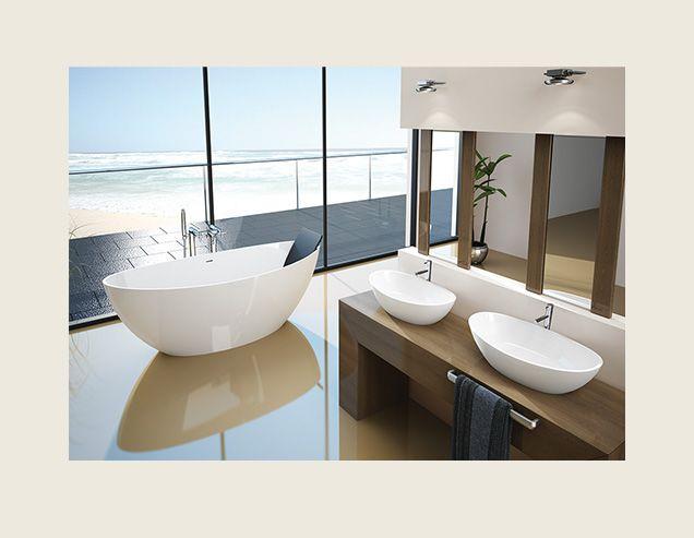Design in Form und Material für freistehende Badewanne