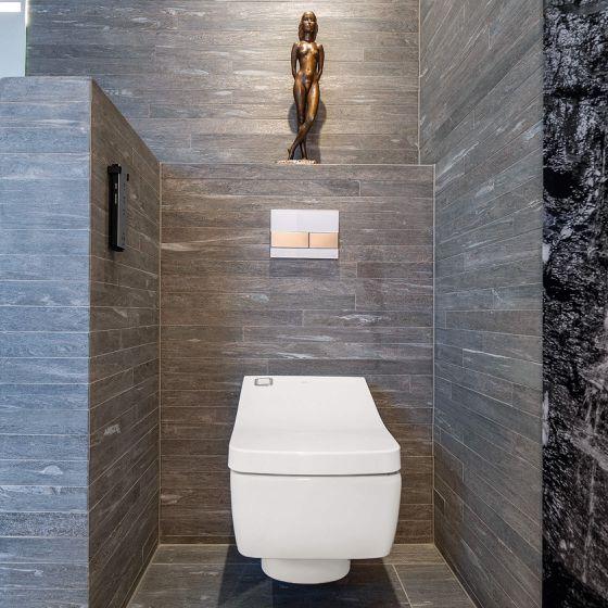 Wand-WC umgeben von Fliesen in Schiefer-Optik