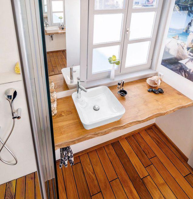 Passende Farbe und Material von Fußboden und Waschtisch