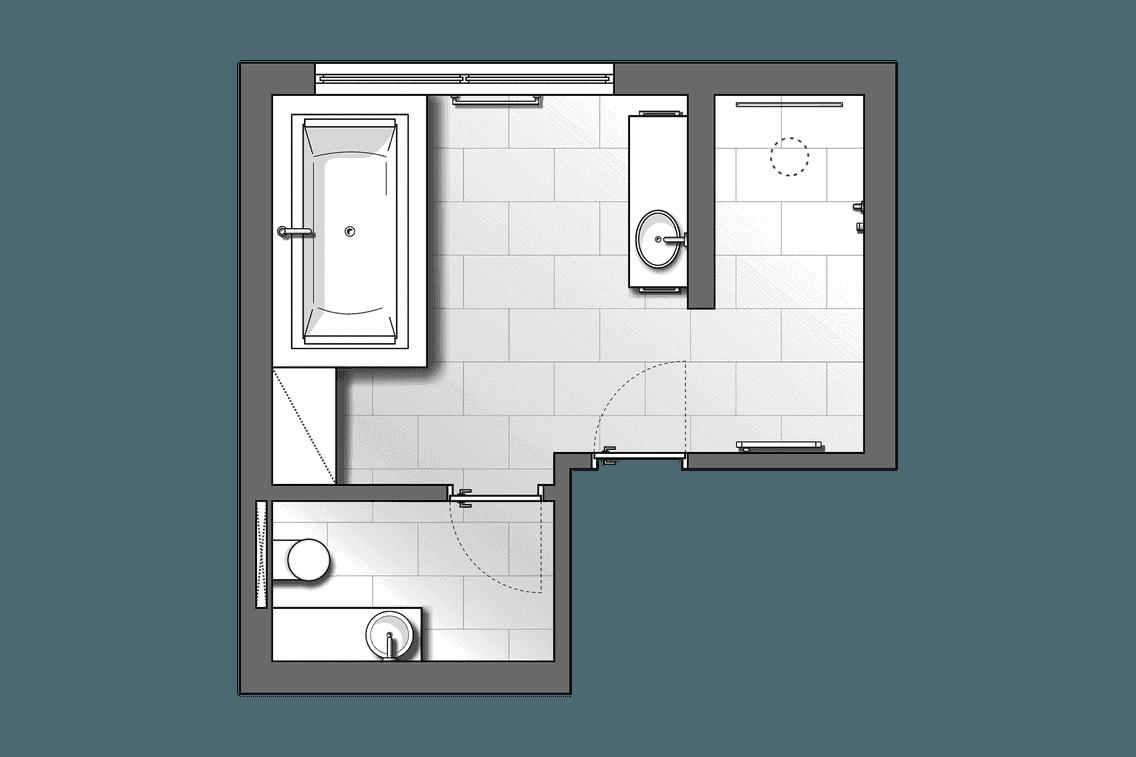 Planungsskizze von unterschiedlichen Funktionsbereichen im Bad